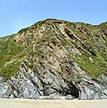 Cliff at Porthbeor Beach - geograph.org.uk - 29108.jpg