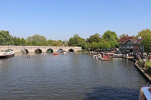 Clopton Bridge from Tramway Bridge, Stratford-upon-Avon