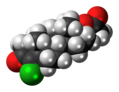 Clostebol acetate molecule spacefill.png