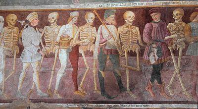 Danse macabre (détail de la fresque), XVe, Église des Disciplini, Bergame
