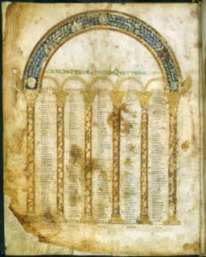 Codex Beneventanus - One of the canon tables from the Codex Beneventanus.
