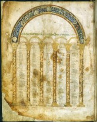 Eusebian Canons - One of the canon tables from the 8th century Codex Beneventanus.