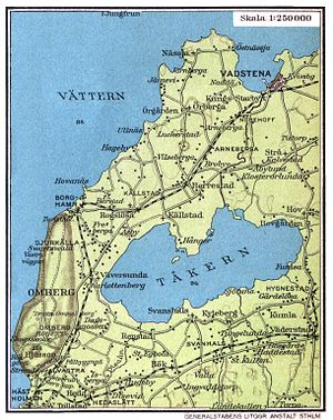 Tåkern - Lake Tåkern on a map from 1928