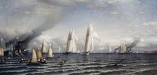 Finish — First International Race for America's Cup, August 8, 1870