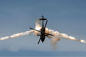 Colombian Air Force - A Colombian Air Force AH-60L firing its flares