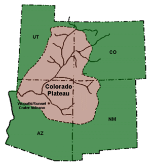 Colorado Plateau - A map of the Colorado Plateau.