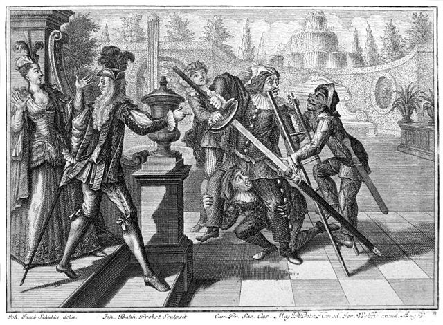From commons.wikimedia.org: Comedie italienne avec Scaramouche {MID-145559}