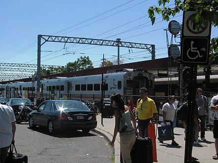 Long Branch station, which is served by NJ Transit's North Jersey Coast Line CometV6067 atLongBranch.JPG