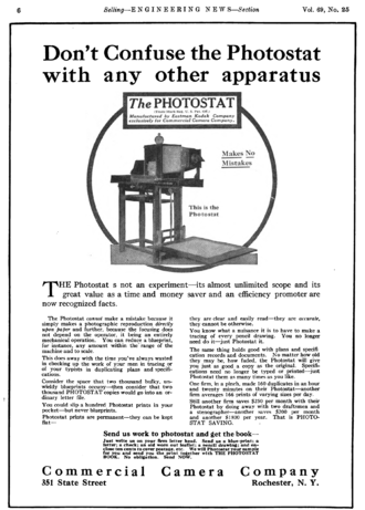 Photostat machine - Commercial Camera Company Photostat advertisement in Engineering News, 1913.