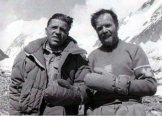 1954 Italian Karakoram expedition to K2 - Compagnoni (left) and Lacedelli, frostbitten  on their return from the summit of K2