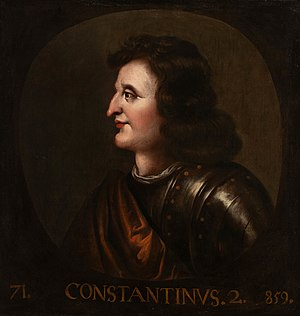 Causantín mac Cináeda - 1685 painting of Constantine issued for king James VII's restoration of Holyrood Palace, located in the Great Painting Room in Holyrood Palace.