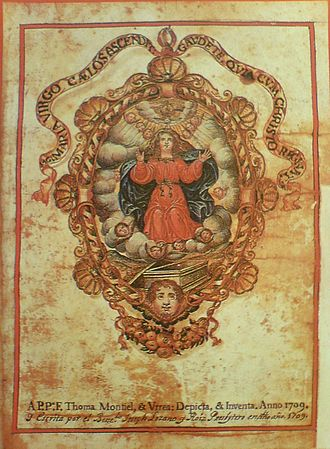 Mystery Play of Elche - Frontispiece of the 1709 Consueta, or manuscript of the Misteri that contains the dialogue and score.