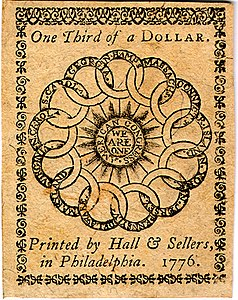 Continental Currency one-third dollar banknote reverse (February 17, 1776).jpg
