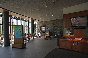 Cornell Lab of Ornithology - The Visitors' Center entrance hall with the observatory on the left