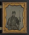 Corporal Elias Warner or Warnear of Company K, 3rd New York Cavalry Regiment with 1852 Slant Breech Sharps carbine and cavalry saber LCCN2011648538.jpg