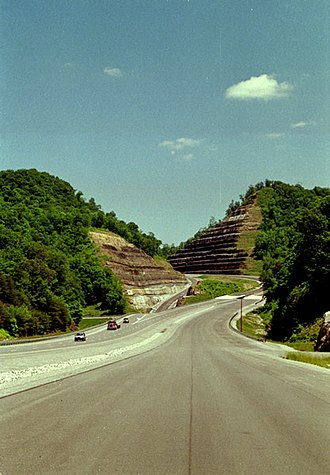U.S. Route 119 - The Burning Fork interchange northeast of Pikeville, in 2005 when 119 was under construction.