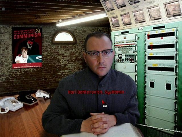 "Cory Doctorow as character in monochrom's adventure game ""Soviet Unterzoegersdorf - Sector 2"" (2009)"