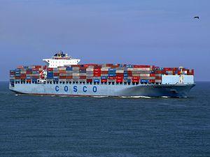 Cosco China p3 approaching Port of Rotterdam, Holland 19-Jul-2007.jpg