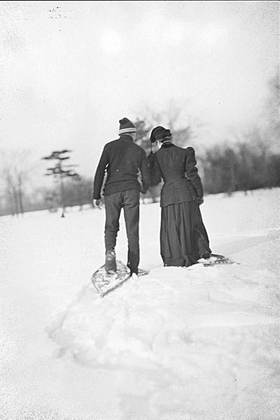 Canadian couple snowshoeing in 1907 Couple Snowshoeing.jpg