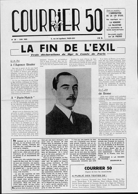 Front page of Courier 50 announcing the end of the exile of Orleans Courrier 50 numero 28.jpg