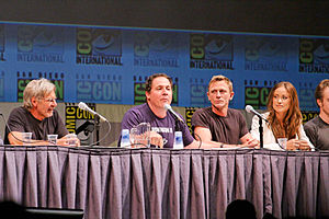 Cowboys & Aliens - Harrison Ford, Jon Favreau, Daniel Craig and Olivia Wilde promoting the film at the 2010 San Diego Comic-Con