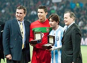Cristiano Ronaldo %28L%29%2C Lionel Messi %28R%29 %E2%80%93 Portugal vs. Argentina%2C 9th February 2011 %281%29