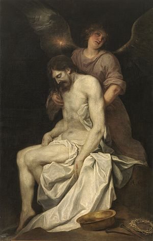 The dead Christ held by an angel