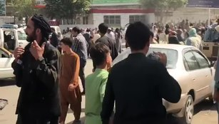 File:Crowds in front of Kabul International Airport.webm
