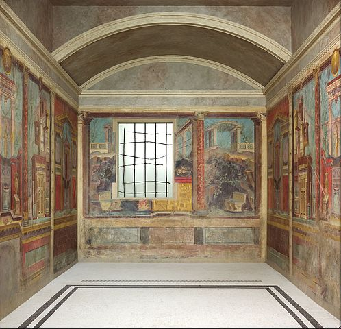 Restoration of a cubiculum (bedroom) from the Villa of P. Fannius Synistor at Boscoreale (Italy), circa 50-40 BC, fresco, dimensions of the room: 265.4 x 334 x 583.9 cm, in the Metropolitan Museum of Art (New York City)