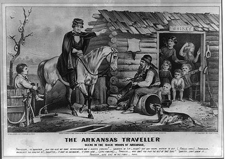 The 1856 Edward Payson Washbourne work Arkansas Traveler was reprinted in 1870 by Currier and Ives during a time when Arkansas and the Old Southwest was commonly used in humor. Although created to tell a tale of an aristocratic delta planter lost in northwest Arkansas, the humorists had changed the story such that the wealthy man on the white horse is not from Arkansas and is asking help from the poor, backwoods hillbilly Arkansan. Currier-ives-arkansas-traveller.jpg
