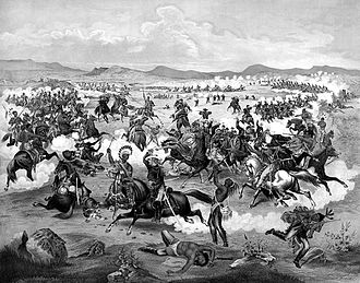 Battle of the Little Bighorn - Fanciful 1876 illustration of Lieutenant Colonel Custer on horseback and his U.S. Army troops making their last charge at the Battle of the Little Bighorn