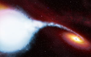 Cygnus X-1 - An artist's impression of the HDE 226868–Cygnus X-1 binary system. ESA/Hubble illustration.