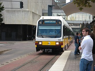 DART Light Rail - A DART Blue Line train enters Pearl Station.