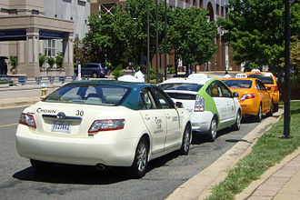 Hybrid taxi - Several hybrid taxis at Arlington, Virginia from several taxi cab companies.