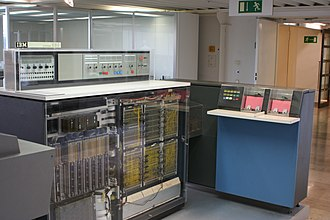 IBM System/360 Model 20 - An IBM System/360 Model 20 (with front panels removed), with IBM 2560 MFCM (Multi-Function Card Machine) at right