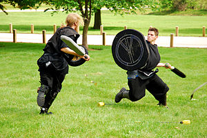 Live action role-playing game - Two Dagorhir fighters use foam weapons to duel