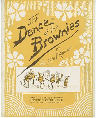 The Brownies - 1895 sheet music. Typically of unauthorized merchandising of the era, the appearance of the Brownies characters is similar to but slightly different from Cox's drawings.