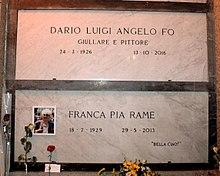 Tombe di Dario Fo e Franca Rame nella Cripta del Famedio del Cimitero Monumentale di Milano
