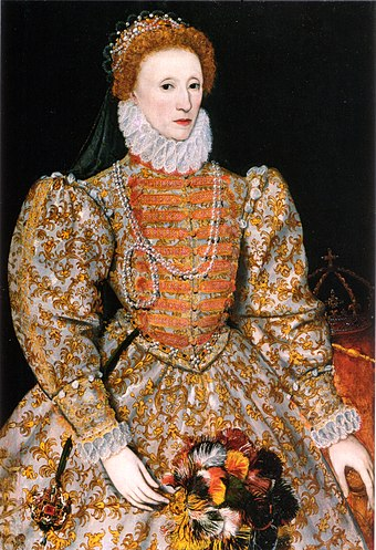 "Queen Elizabeth I revived the Church of England in 1559, and established a uniform faith and practice. She took the title ""Supreme Governor"". Darnley stage 3.jpg"