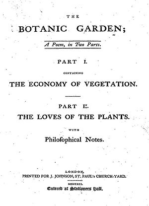 1791 in poetry - Title page from The Botanic Garden by Erasmus Darwin