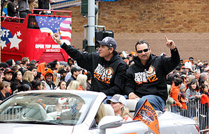 Dave Righetti - Righetti (left) and Mark Gardner during the 2012 World Series parade