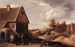 Landscape with Figures before a House with Straw Roof