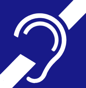 A stylised white ear, wi twa white bars surroondin it, on a blue backgrund.