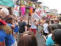 Decadence 2013 Parade Gay Agenda Signs.JPG