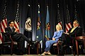 Defense.gov News Photo 110816-F-RG147-341 - Secretary of Defense Leon E. Panetta and Secretary of State Hillary Rodham Clinton meet for a televised conversation at the National Defense.jpg