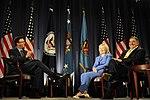 Defense.gov News Photo 110816-F-RG147-341 - Secretary of Defense Leon E. Panetta and Secretary of State Hillary Rodham Clinton meet for a televised conversation at the National Defense.jpg