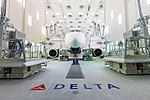 Delta's Airbus A220 in paint shop (44623697892).jpg