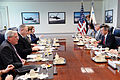 Deputy Secretary of Defense Bob Work, second from left, meets with Peter Maurer, right, the president of the International Committee of the Red Cross, at the Pentagon, April 13, 2015 150413-D-LN567-020.jpg