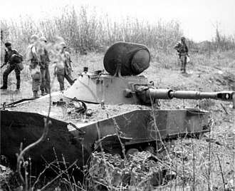 Ben Het Camp - One of two PT-76s from the PAVN 202nd Armored Regiment, destroyed by US M48 Pattons from the 1/69th Armored battalion, during the battle of Ben Het, March 3, 1969, Vietnam