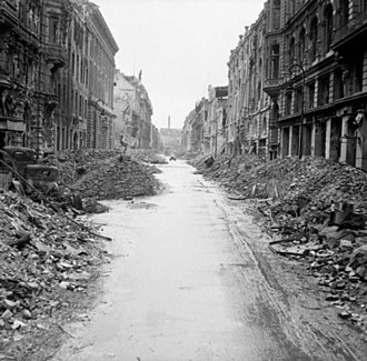 Battle in Berlin - A devastated street in the city centre, 3 July 1945